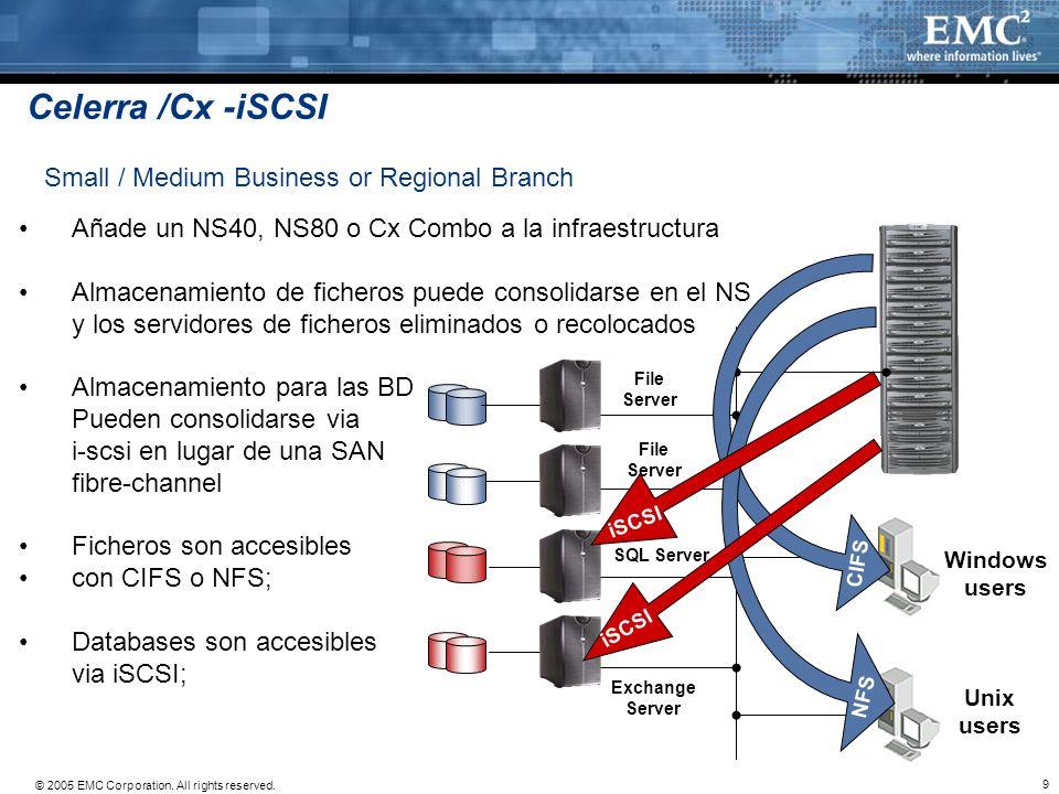 9 © 2005 EMC Corporation. All rights reserved. Añade un NS40, NS80 o Cx Combo a la infraestructura Almacenamiento de ficheros puede consolidarse en el
