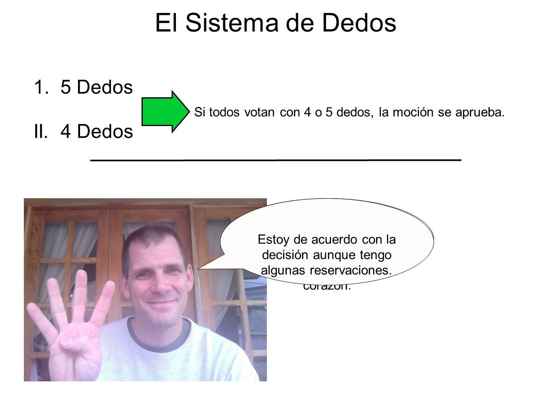 El Sistema de Dedos 1. 5 Dedos Estoy completamente de acuerdo. Apoyo la decisión con todo mi corazón. II. 4 Dedos Estoy de acuerdo con la decisión aun