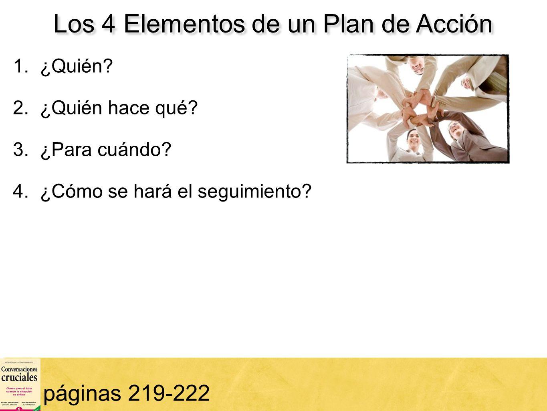 15 Los 4 Elementos de un Plan de Acción páginas 219-222 1. ¿Quién? 2. ¿Quién hace qué? 3. ¿Para cuándo? 4. ¿Cómo se hará el seguimiento?