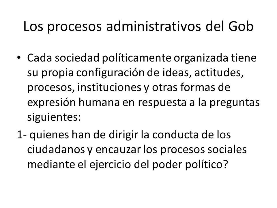 Los procesos administrativos del Gob Cada sociedad políticamente organizada tiene su propia configuración de ideas, actitudes, procesos, instituciones