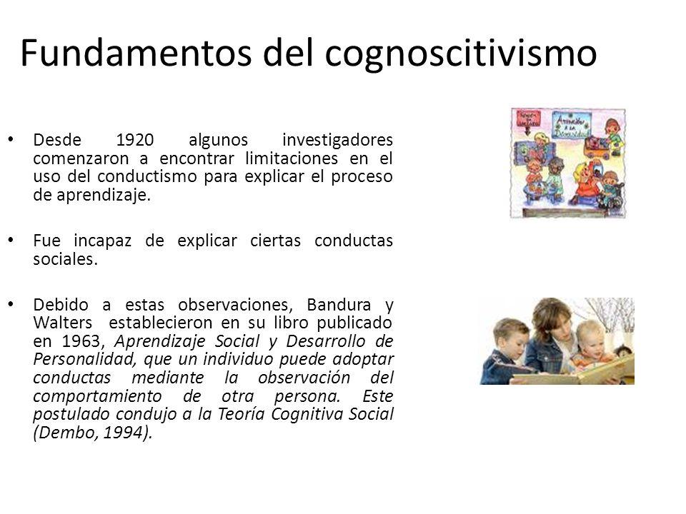 Cognoscitivismo Se basa en los procesos que tienen lugar atrás de los cambios de conducta. Estos cambios son observados y se usan como indicadores par
