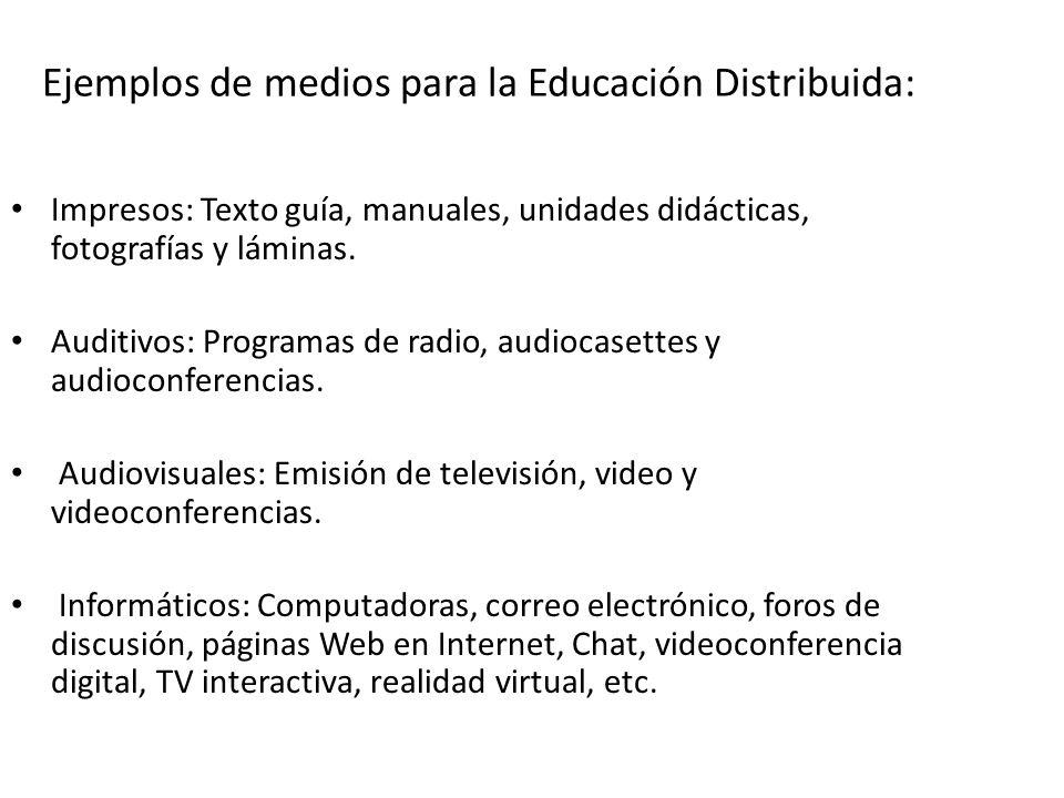 Ejemplos de medios para la Educación Distribuida: Impresos: Texto guía, manuales, unidades didácticas, fotografías y láminas.