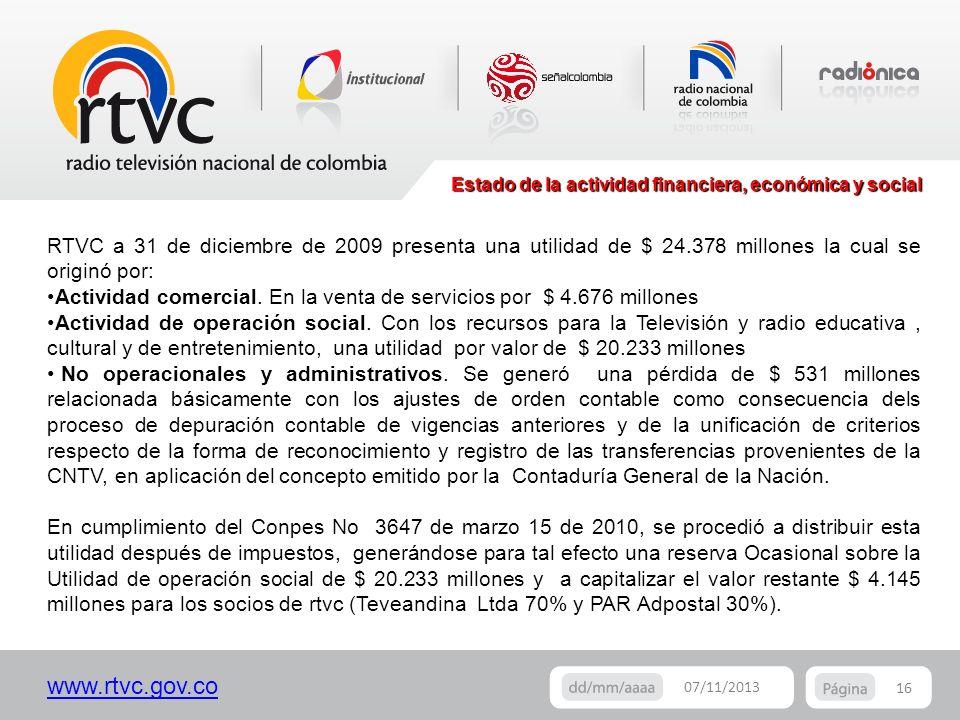 www.rtvc.gov.co Estado de la actividad financiera, económica y social 16 07/11/2013 RTVC a 31 de diciembre de 2009 presenta una utilidad de $ 24.378 m
