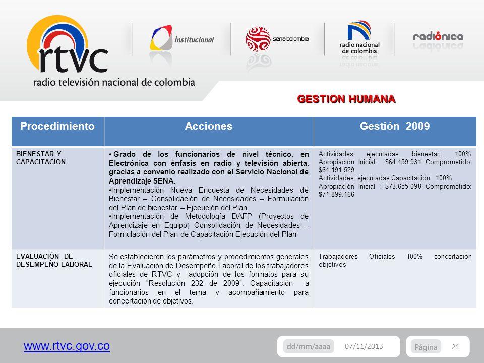 www.rtvc.gov.co GESTION HUMANA 21 07/11/2013 ProcedimientoAccionesGestión 2009 BIENESTAR Y CAPACITACION Grado de los funcionarios de nivel técnico, en
