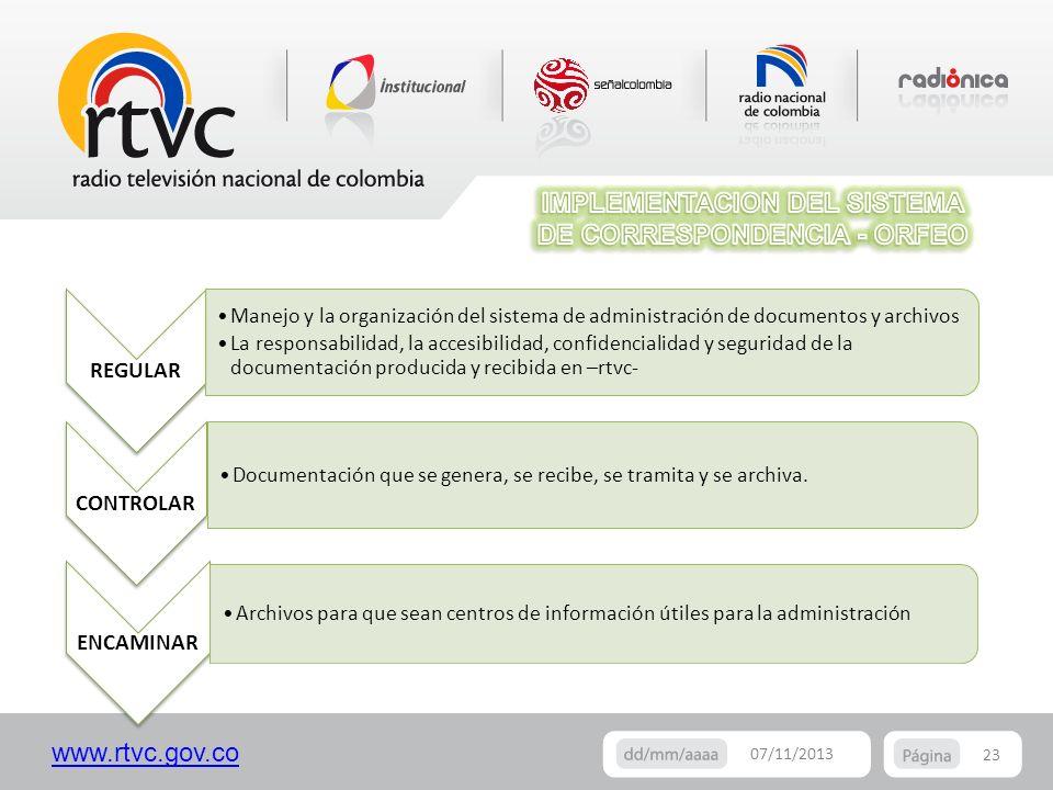www.rtvc.gov.co 23 07/11/2013 CONTROLAR Documentación que se genera, se recibe, se tramita y se archiva. REGULAR Manejo y la organización del sistema