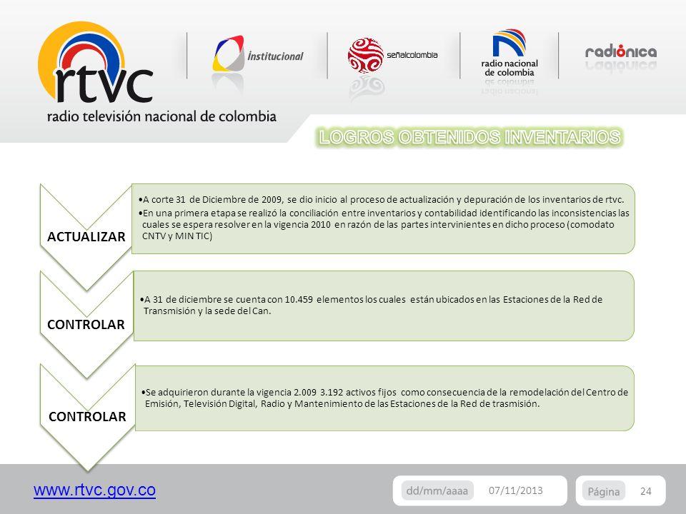 www.rtvc.gov.co 24 07/11/2013 CONTROLAR A 31 de diciembre se cuenta con 10.459 elementos los cuales están ubicados en las Estaciones de la Red de Tran
