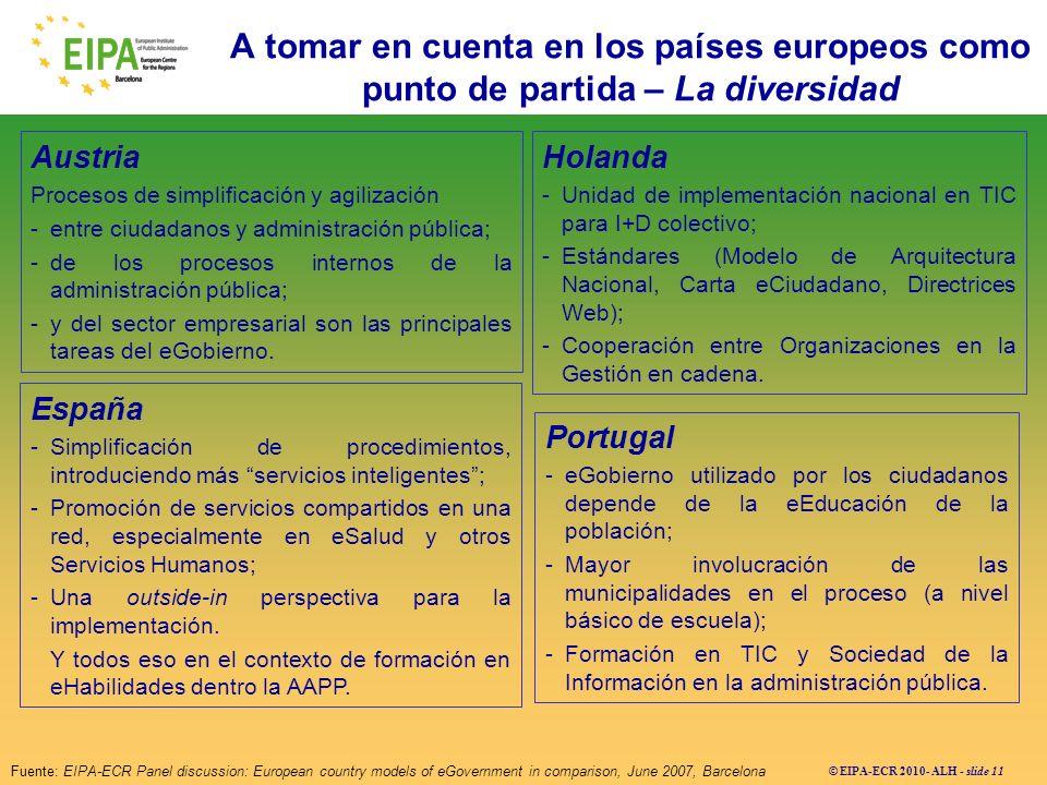 © EIPA-ECR 2010- ALH - slide 11 Austria Procesos de simplificación y agilización -entre ciudadanos y administración pública; -de los procesos internos