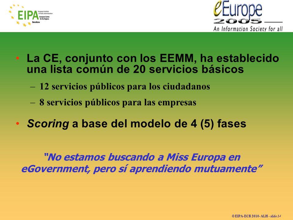 © EIPA-ECR 2010- ALH - slide 14 La CE, conjunto con los EEMM, ha establecido una lista común de 20 servicios básicos –12 servicios públicos para los c