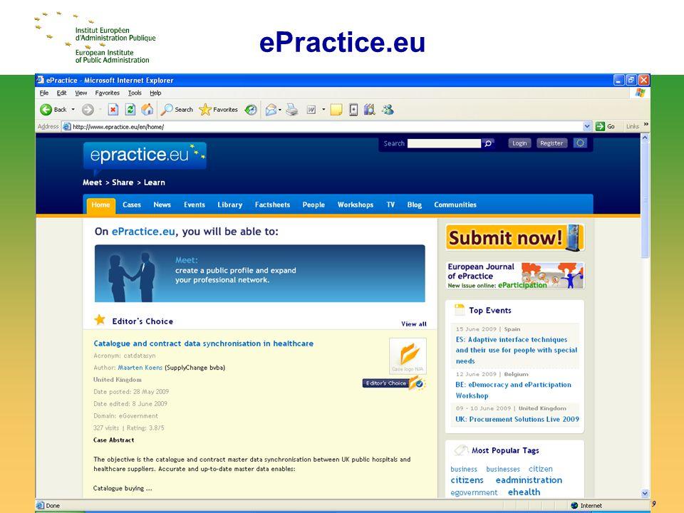 © EIPA-ECR 2009 - ALH - slide 19 ePractice.eu screenshot