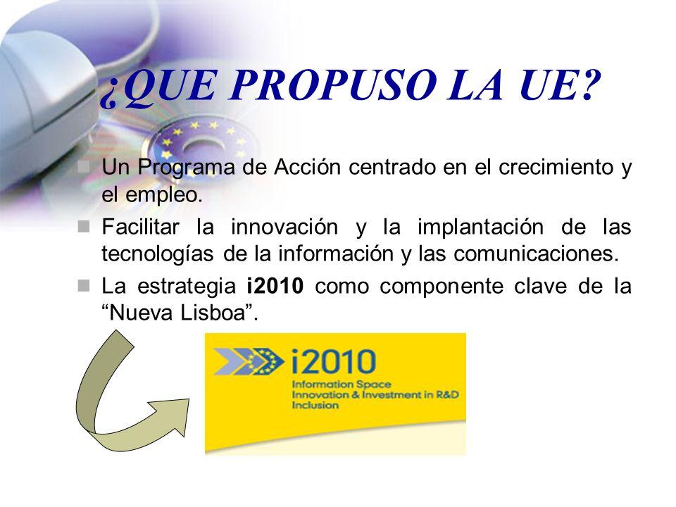 ¿QUE PROPUSO LA UE? Un Programa de Acción centrado en el crecimiento y el empleo. Facilitar la innovación y la implantación de las tecnologías de la i