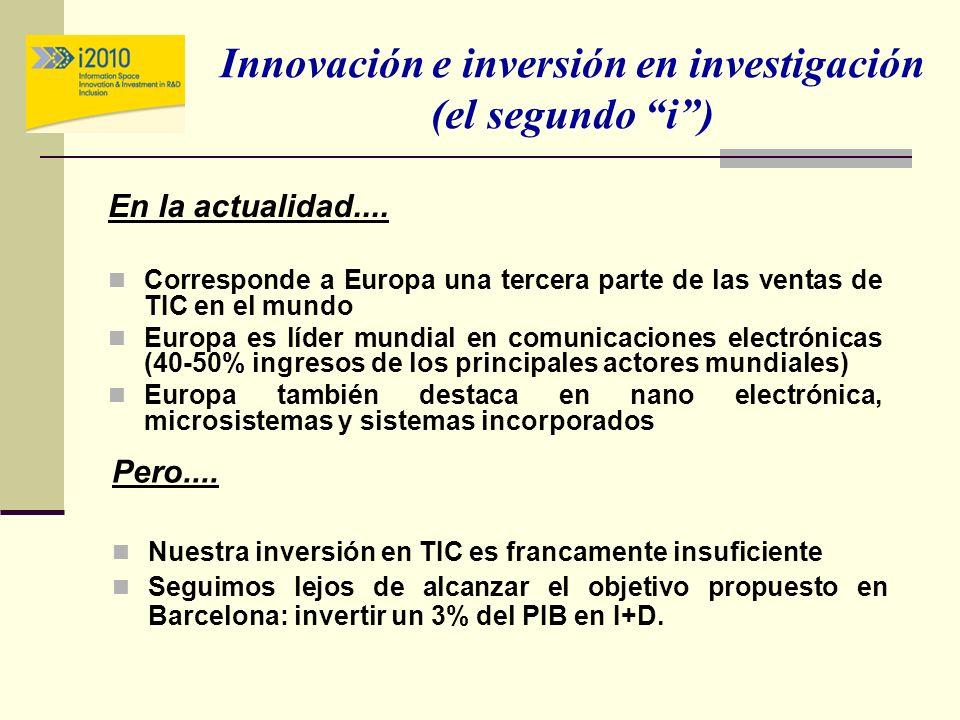 Innovación e inversión en investigación (el segundo i) En la actualidad.... Corresponde a Europa una tercera parte de las ventas de TIC en el mundo Eu
