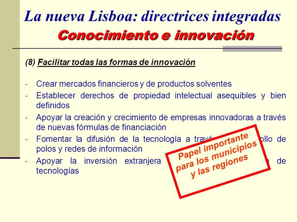 (8) Facilitar todas las formas de innovación -Crear mercados financieros y de productos solventes -Establecer derechos de propiedad intelectual asequi