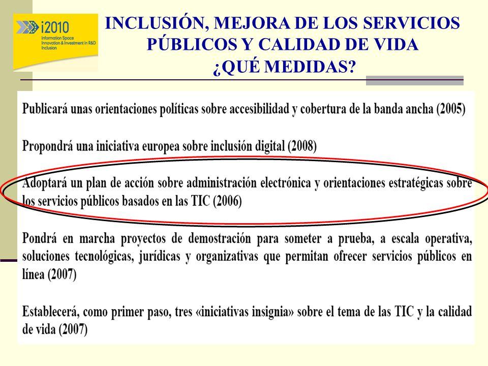 INCLUSIÓN, MEJORA DE LOS SERVICIOS PÚBLICOS Y CALIDAD DE VIDA ¿QUÉ MEDIDAS?