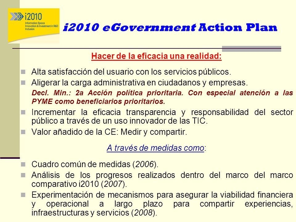 i2010 eGovernment Action Plan Hacer de la eficacia una realidad: Alta satisfacción del usuario con los servicios públicos. Aligerar la carga administr