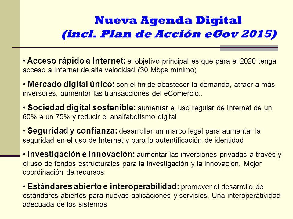 Acceso rápido a Internet: el objetivo principal es que para el 2020 tenga acceso a Internet de alta velocidad (30 Mbps mínimo) Mercado digital único:
