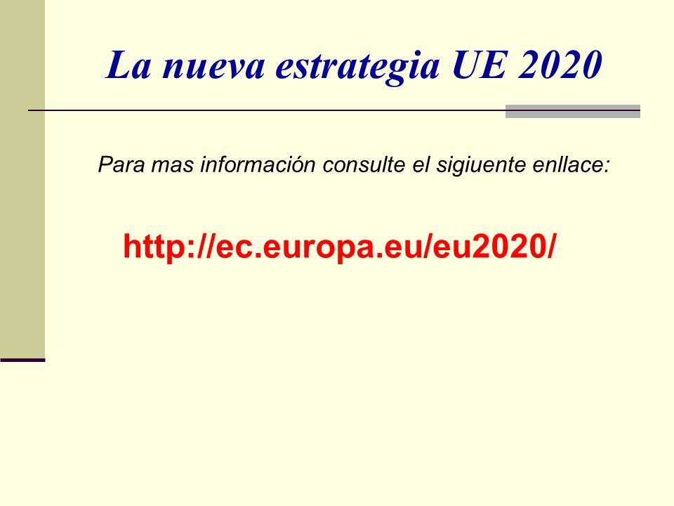 La nueva estrategia UE 2020 Para mas información consulte el sigiuente enllace: http://ec.europa.eu/eu2020/