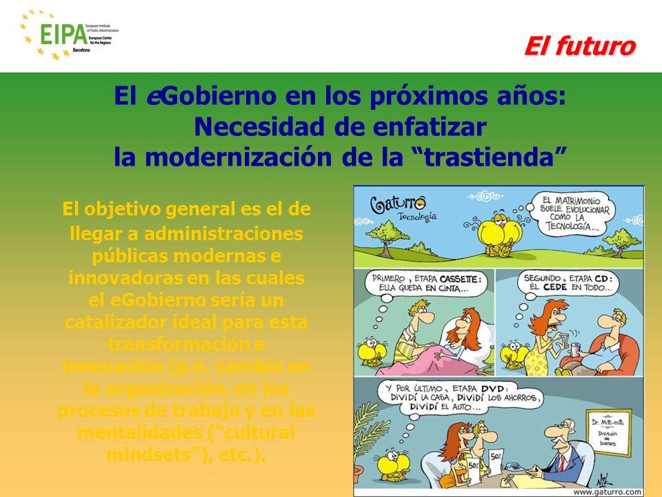 © EIPA-ECR 2010- ALH - slide 53 El eGobierno en los próximos años: Necesidad de enfatizar la modernización de la trastienda El futuro El objetivo gene