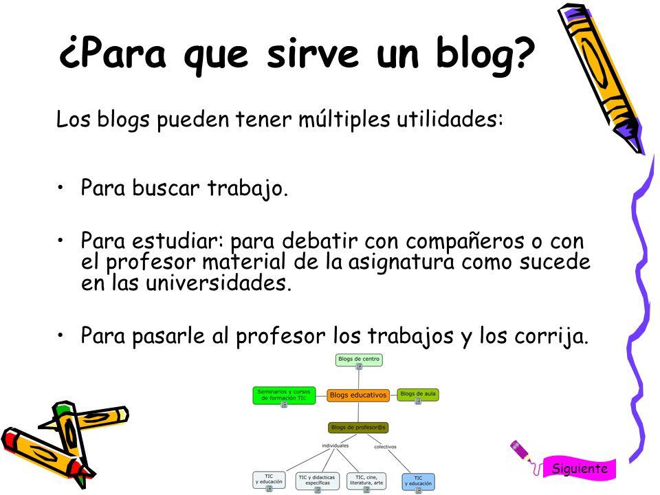 ¿Para que sirve un blog? Los blogs pueden tener múltiples utilidades: Para buscar trabajo. Para estudiar: para debatir con compañeros o con el profeso