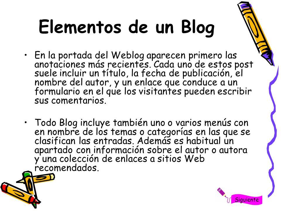 Elementos de un Blog En la portada del Weblog aparecen primero las anotaciones más recientes. Cada uno de estos post suele incluir un título, la fecha