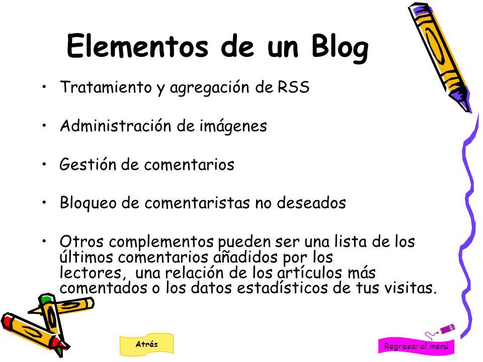 Elementos de un Blog Tratamiento y agregación de RSS Administración de imágenes Gestión de comentarios Bloqueo de comentaristas no deseados Otros comp
