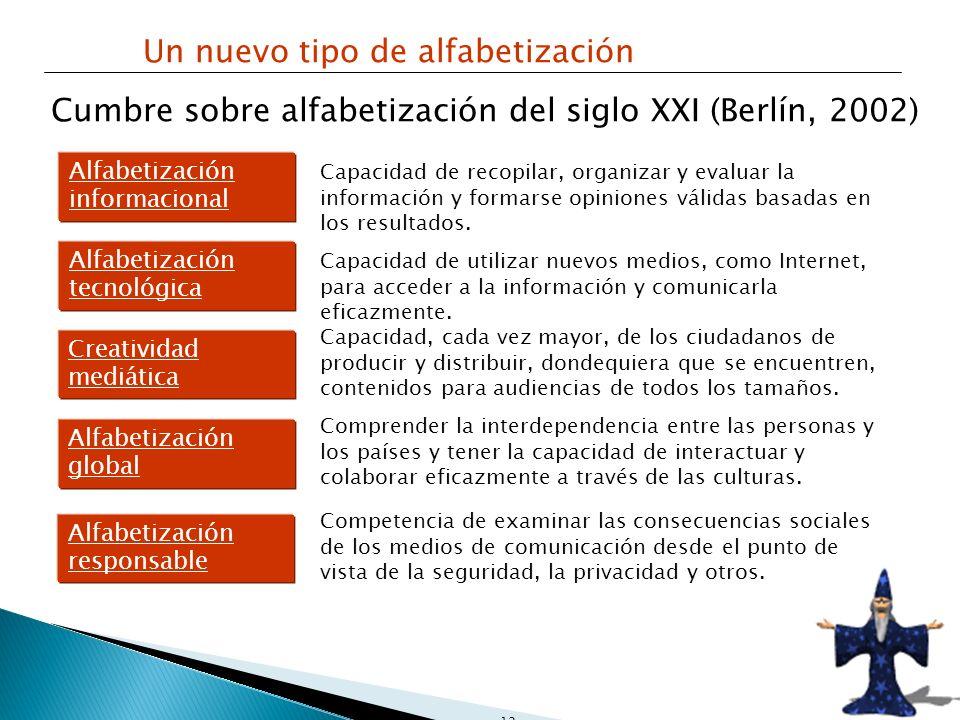 12 Un nuevo tipo de alfabetización Cumbre sobre alfabetización del siglo XXI (Berlín, 2002) Alfabetización informacional Alfabetización tecnológica Cr
