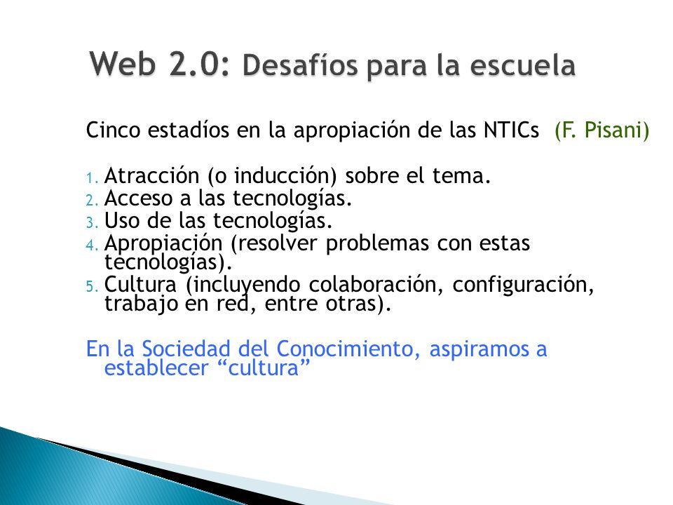 Cinco estadíos en la apropiación de las NTICs (F. Pisani) 1. Atracción (o inducción) sobre el tema. 2. Acceso a las tecnologías. 3. Uso de las tecnolo