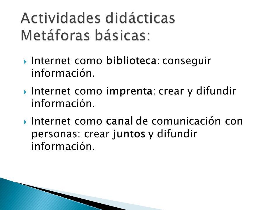 Actividades didácticas Metáforas básicas: Internet como biblioteca: conseguir información. Internet como imprenta: crear y difundir información. Inter