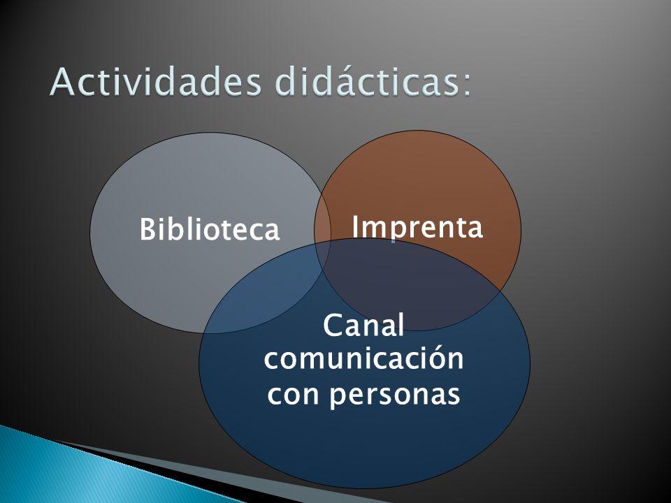 Actividades didácticas: BibliotecaImprenta Canal comunicación con personas