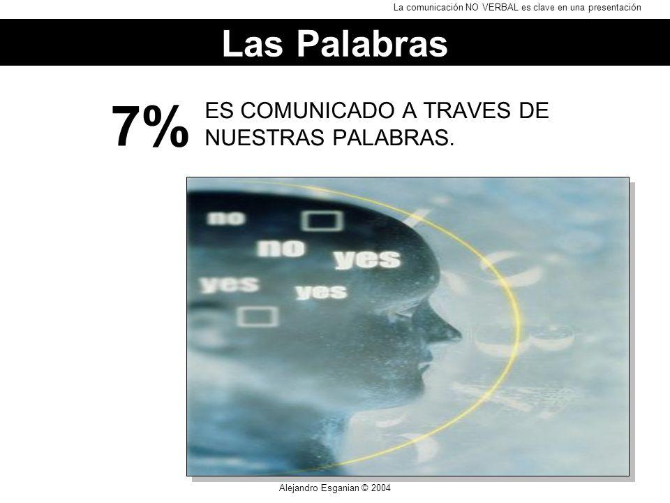 Alejandro Esganian © 2004 ES COMUNICADO A TRAVES DE NUESTRAS PALABRAS. 7% Las Palabras La comunicación NO VERBAL es clave en una presentación