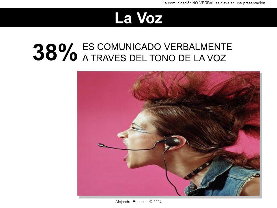 Alejandro Esganian © 2004 ES COMUNICADO VERBALMENTE A TRAVES DEL TONO DE LA VOZ 38% La Voz La comunicación NO VERBAL es clave en una presentación