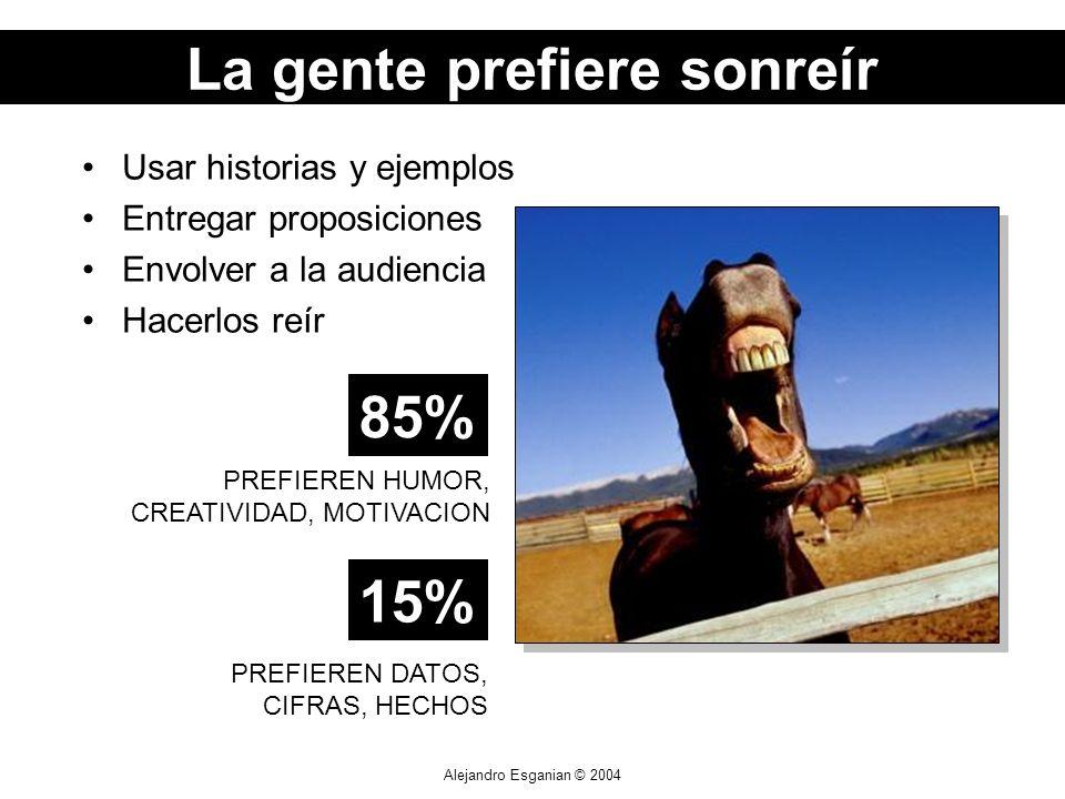 Alejandro Esganian © 2004 Usar historias y ejemplos Entregar proposiciones Envolver a la audiencia Hacerlos reír PREFIEREN DATOS, CIFRAS, HECHOS 85% P