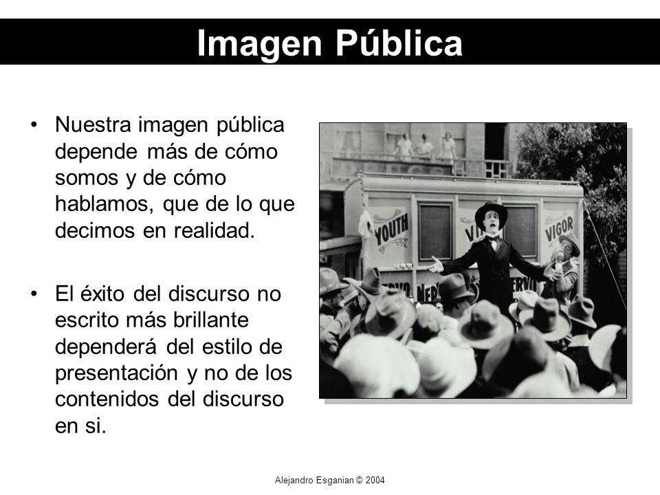 Alejandro Esganian © 2004 Nuestra imagen pública depende más de cómo somos y de cómo hablamos, que de lo que decimos en realidad. El éxito del discurs