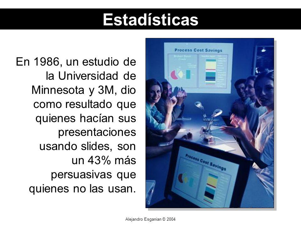 Alejandro Esganian © 2004 En 1986, un estudio de la Universidad de Minnesota y 3M, dio como resultado que quienes hacían sus presentaciones usando slides, son un 43% más persuasivas que quienes no las usan.