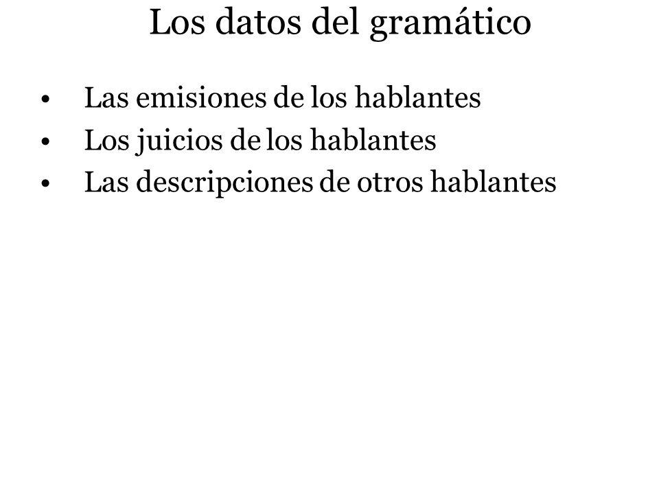 Los datos del gramático Las emisiones de los hablantes Los juicios de los hablantes Las descripciones de otros hablantes