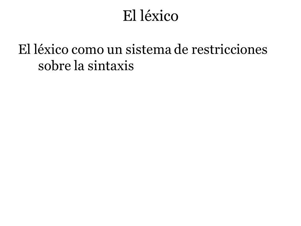 El léxico El léxico como un sistema de restricciones sobre la sintaxis