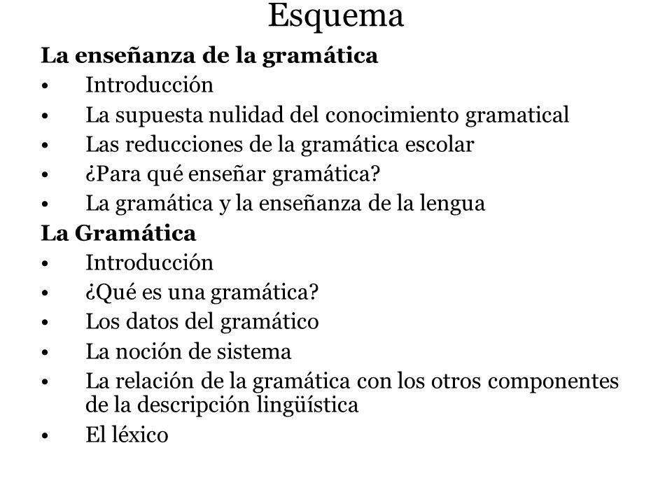 Esquema La enseñanza de la gramática Introducción La supuesta nulidad del conocimiento gramatical Las reducciones de la gramática escolar ¿Para qué en