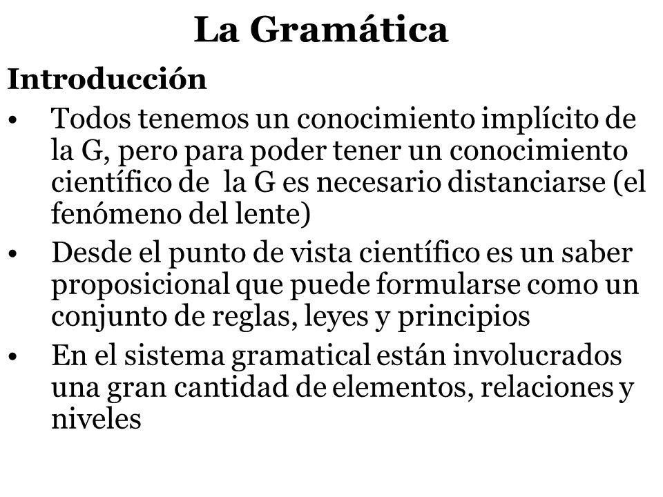 La Gramática Introducción Todos tenemos un conocimiento implícito de la G, pero para poder tener un conocimiento científico de la G es necesario dista