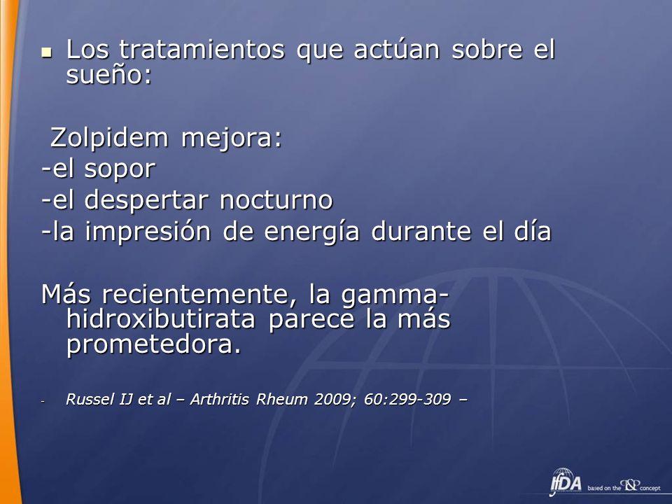 Los tratamientos que actúan sobre el sueño: Los tratamientos que actúan sobre el sueño: Zolpidem mejora: Zolpidem mejora: -el sopor -el despertar noct