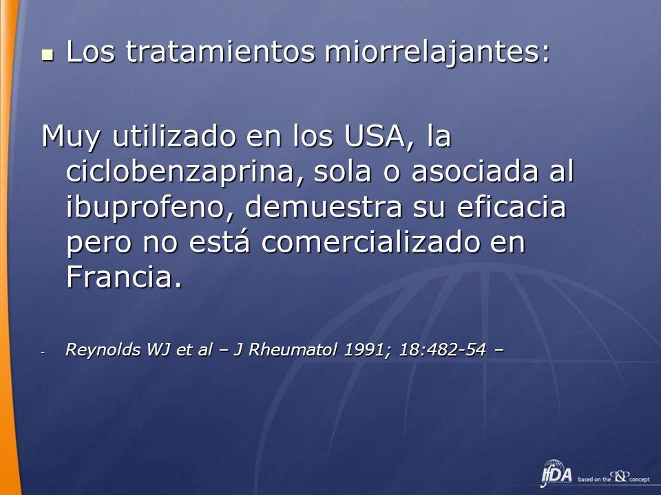 Los tratamientos miorrelajantes: Los tratamientos miorrelajantes: Muy utilizado en los USA, la ciclobenzaprina, sola o asociada al ibuprofeno, demuest