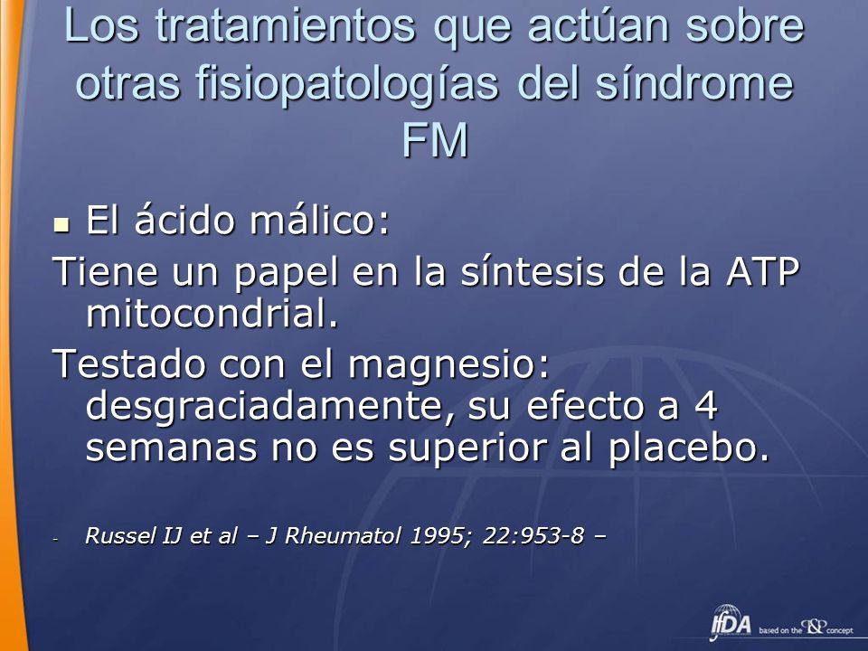 Los tratamientos que actúan sobre otras fisiopatologías del síndrome FM El ácido málico: El ácido málico: Tiene un papel en la síntesis de la ATP mito