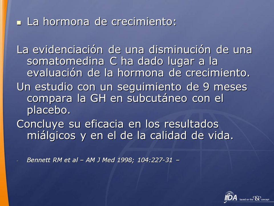 La hormona de crecimiento: La hormona de crecimiento: La evidenciación de una disminución de una somatomedina C ha dado lugar a la evaluación de la ho