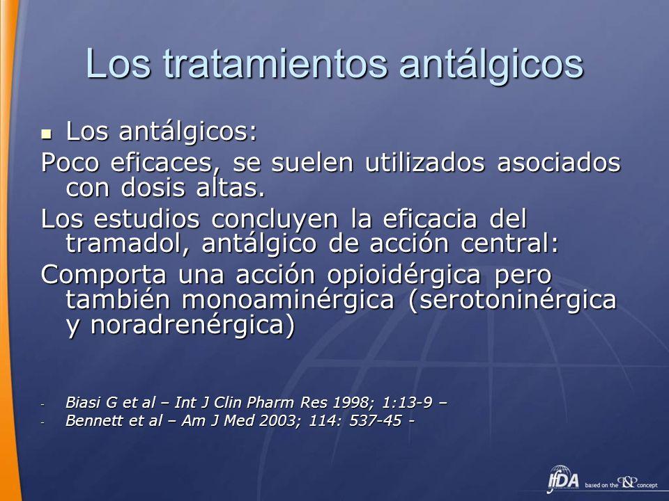 Los tratamientos antálgicos Los antálgicos: Los antálgicos: Poco eficaces, se suelen utilizados asociados con dosis altas. Los estudios concluyen la e