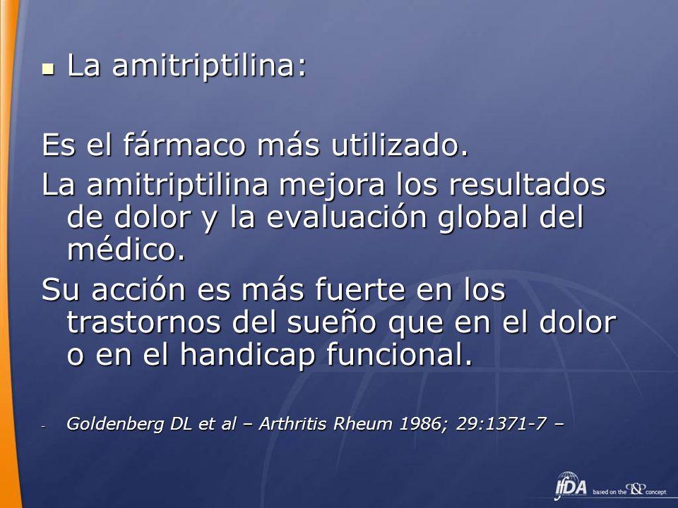 La amitriptilina: La amitriptilina: Es el fármaco más utilizado. La amitriptilina mejora los resultados de dolor y la evaluación global del médico. Su