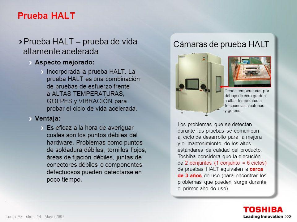Tecra A9 slide: 13 Mayo 2007 HALT (prueba de vida altamente acelerada) es una combinación de pruebas de esfuerzo de variaciones extremas de temperatur