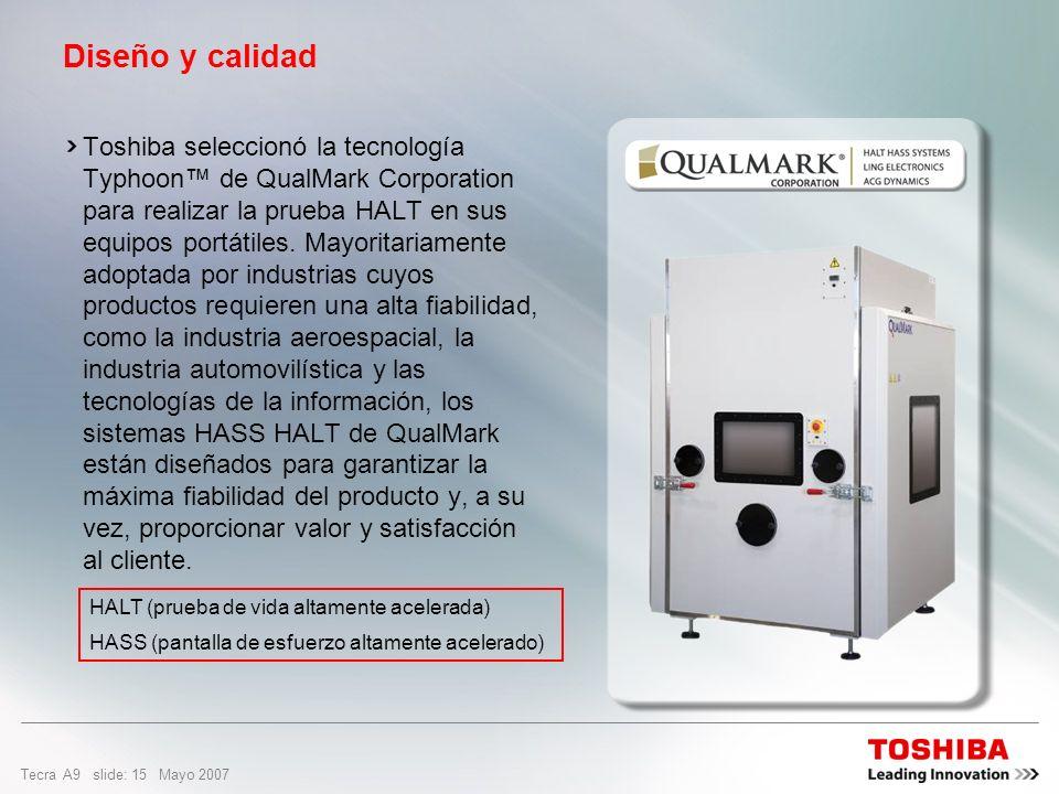 Tecra A9 slide: 14 Mayo 2007 Prueba HALT Prueba HALT – prueba de vida altamente acelerada Aspecto mejorado: Incorporada la prueba HALT. La prueba HALT