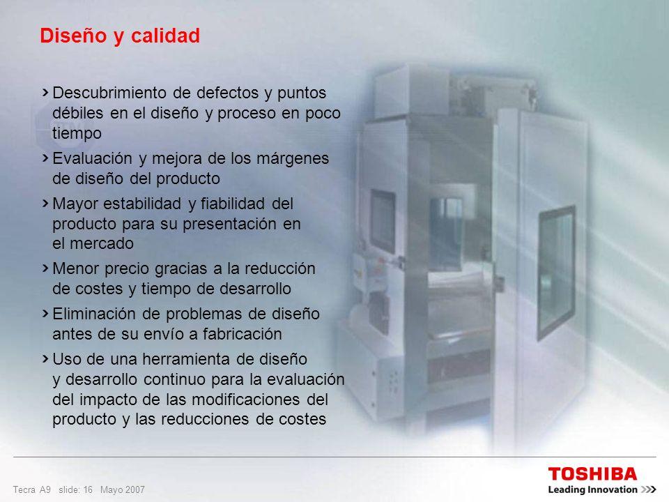 Tecra A9 slide: 15 Mayo 2007 Diseño y calidad Toshiba seleccionó la tecnología Typhoon de QualMark Corporation para realizar la prueba HALT en sus equ