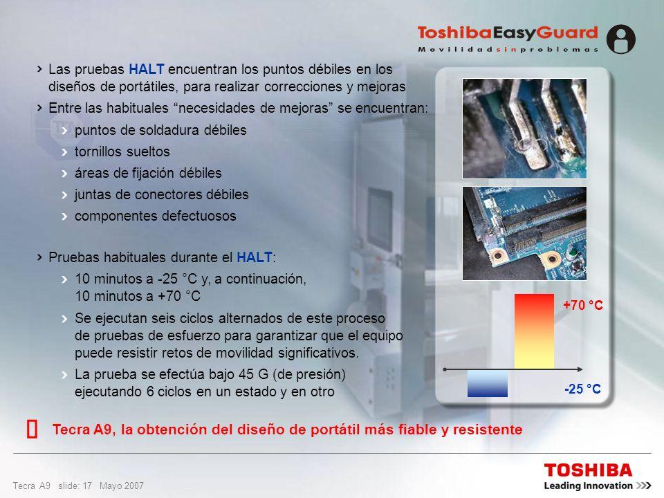 Tecra A9 slide: 16 Mayo 2007 Diseño y calidad Descubrimiento de defectos y puntos débiles en el diseño y proceso en poco tiempo Evaluación y mejora de