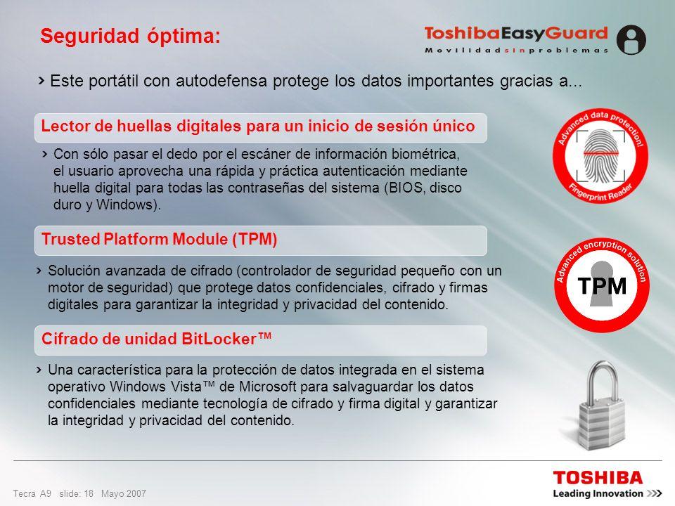 Tecra A9 slide: 17 Mayo 2007 Las pruebas HALT encuentran los puntos débiles en los diseños de portátiles, para realizar correcciones y mejoras Entre l