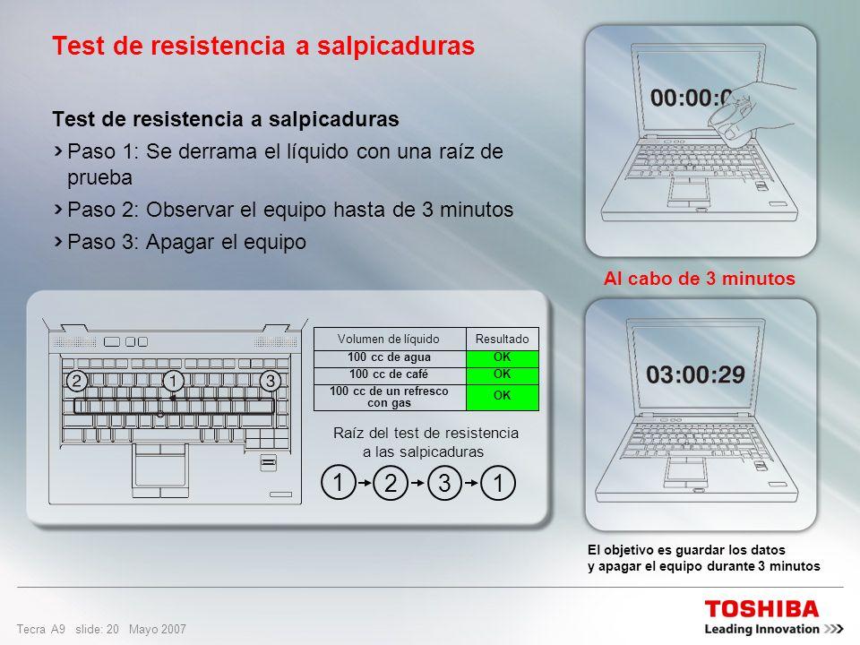 Tecra A9 slide: 19 Mayo 2007 Teclado resistente a salpicaduras Evita daños en el sistema a causa de salpicaduras accidentales (hasta 100 cc) sobre el