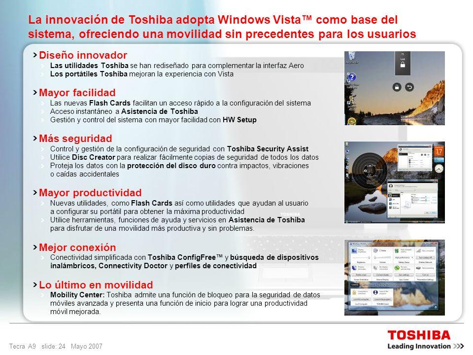Tecra A9 slide: 23 Mayo 2007 Diseñado para una movilidad sin precedentes Windows Vista Business es el sistema operativo para organizaciones de todos l